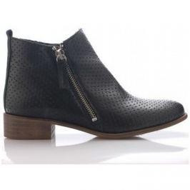 Maria Jaen  Černé kožené boty se zipem  ruznobarevne