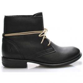 Online Shoes  Černé kožené boty s tkaničkami  ruznobarevne