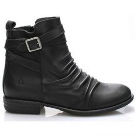 Online Shoes  Černé kožené kotníkové boty s řemínkem  ruznobarevne