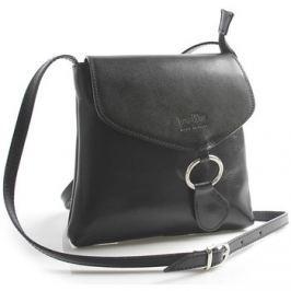 Italy  Černá kožená crossbody kabelka  Saffie  Černá