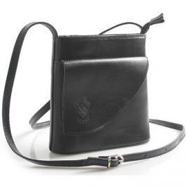Italy  Dámská kožená crossbody kabelka černá -  Cora  Černá