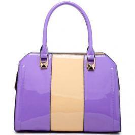 Moda Handbag  Fialová kabelka do ruky s béžovým pruhem A34176  ruznobarevne