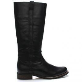 Online Shoes  Černé kožené nižší kozačky  ruznobarevne