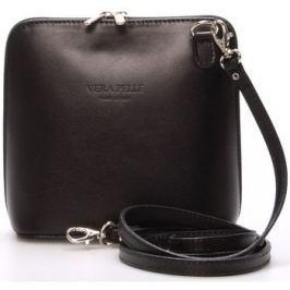 Italy  Dámská kožená crossbody kabelka černá -  Hannah  Černá