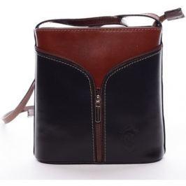 Italy  Dámská kožená crossbody kabelka černo-hnědá -  Hallie  Černá