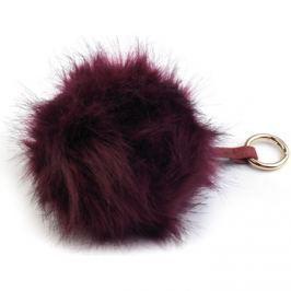 New Berry  Bordová kožešinová bambule z lišky - přívěsek na kabelku  ruznobarevne