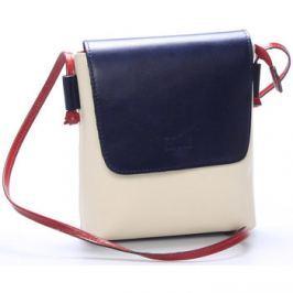 Italy  Dámská kožená crossbody kabelka béžovo modrá -  Tamia  Béžová