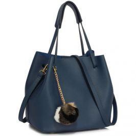 Ls Fashion  moderní modrá dámská Hobo kabelka s kožešinovou ozdobou  Modrá