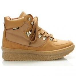 Roobins  Hnědé kožené boty  ruznobarevne