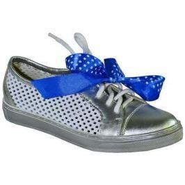 Alex  Strieborné kožené topánky s mašličkou ISMEN  Stříbrná