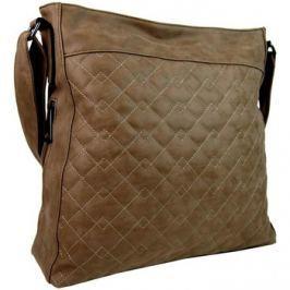 Tapple  Velká tmavě hnědá crossbody kabelka z broušené kůže 613-3  Hnědá