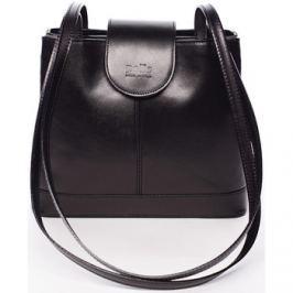 Italy  Kožená dámská černá kabelka přes rameno -  Zenna  Černá