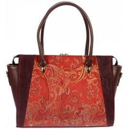 Grosso  Červeno-bordová elegantní kabelka s etnickým vzorem S718  ruznobarevne