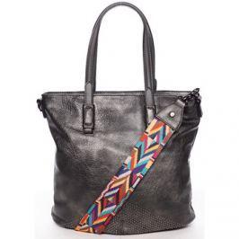 Maria C.  Luxusně stylová dámská tmavě stříbrná kabelka přes rameno - Eust  Stříbrná