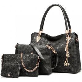 Lulu Bags (Anglie)  Praktický dámský kabelkový set 4v1 Miss Lulu černá  Černá