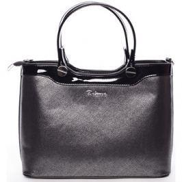 Delami  Elegantní lakovaná černá stříbrná dámská kabelka do ruky -  Iria  Stříbrná