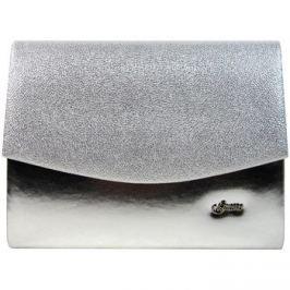 Grosso  Luxusní stříbrná brokátová listová kabelka / psaníčko SP132  Stříbrná