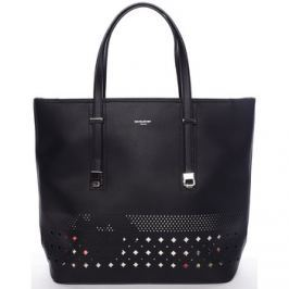 David Jones  Elegantní perforovaná černá kabelka s organizérem -  Cambria  Černá