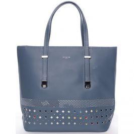 David Jones  Elegantní perforovaná modrá kabelka s organizérem -  Cambria  Modrá