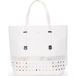David Jones  Elegantní perforovaná bílá kabelka s organizérem -  Cambria  Bílá