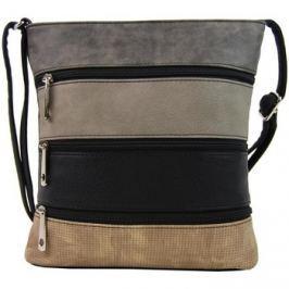 Tapple  Menší černá crossbody kabelka s tmavě šedým, šedým, černým a hně  Černá