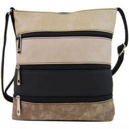 Tapple  Menší černá crossbody kabelka se světle hnědým, pudrovým, černým  Černá