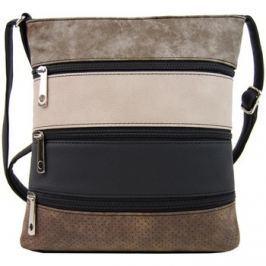 Tapple  Menší černá crossbody kabelka s šedohnědým, pudrovým, černým a h  Černá