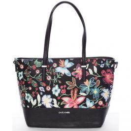 David Jones  Černá elegantní květinová kabelka -  Blomst  Černá