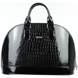 Grosso  Elegantní černá lakovaná kabelka s krokodýlím vzorem S24  Černá