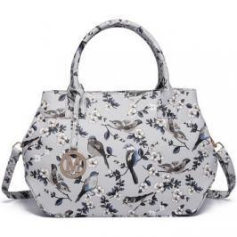 Lulu Bags (Anglie)  Nadčasová šedá kabelka s ptáčky Miss Lulu