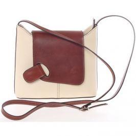 Italy  Dámská kožená crossbody kabelka béžovo hnědá -  Misty  Béžová