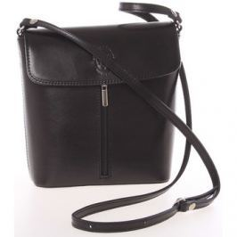 Italy  Dámská kožená crossbody kabelka černá -  Marketa  Černá
