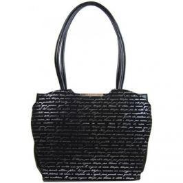 Grosso  Černá elegantní kabelka se stříbrným potiskem písmen S698  Černá