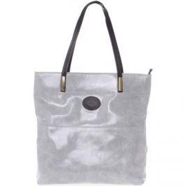 Italy  Velká kožená kabelka přes rameno šedá -  Obelia