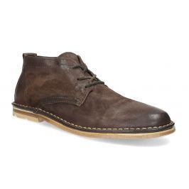 Pánská kožená kotníčková obuv hnědá