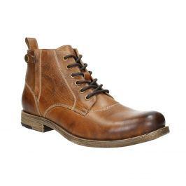 Hnědá kožená kotníčková obuv